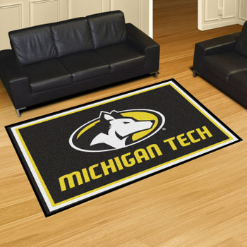 5' x 8' Michigan Tech University Black Rectangle Rug