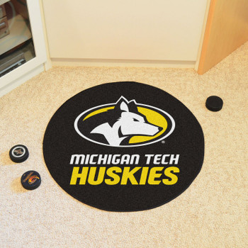 "27"" Michigan Tech University Puck Round Mat - ""Husky"" Logo & Wordmark"