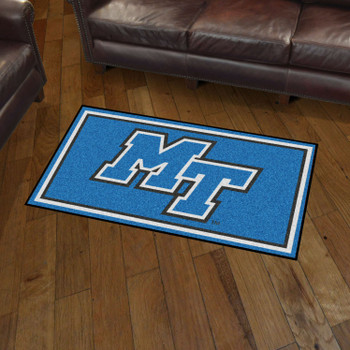 3' x 5' Middle Tennessee State University Blue Rectangle Rug