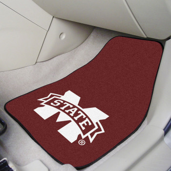 Mississippi State University Maroon Carpet Car Mat, Set of 2