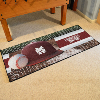 "30"" x 72"" Mississippi State Baseball Style Rectangle Runner Mat"