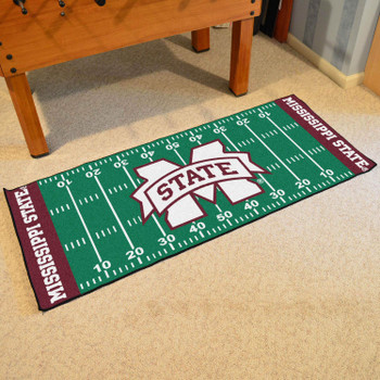 "30"" x 72"" Mississippi State University Football Field Rectangle Runner Mat"