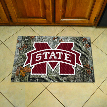 "19"" x 30"" Mississippi State University Rectangle Camo Scraper Mat - ""M State"" Logo"