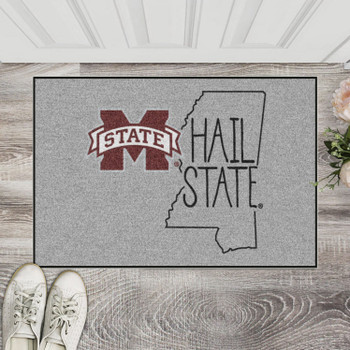 "19"" x 30"" Mississippi State University Southern Style Gray Rectangle Starter Mat"
