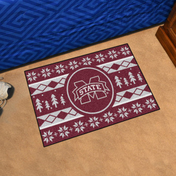 "19"" x 30"" Mississippi State University Holiday Sweater Maroon Rectangle Starter Mat"
