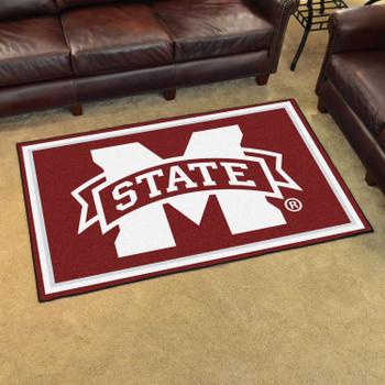 4' x 6' Mississippi State University Maroon Rectangle Rug