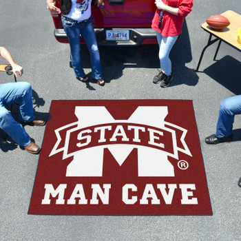 "59.5"" x 71"" Mississippi State University Man Cave Tailgater Maroon Rectangle Mat"