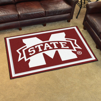 5' x 8' Mississippi State University Maroon Rectangle Rug