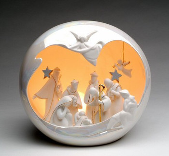 Large Globe Porcelain Lighted Nativity Scene Sculpture