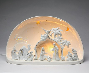 Nativity Dome Porcelain Lighted Nativity Scene Sculpture