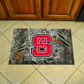 "19"" x 30"" North Carolina State University Rectangle Camo Scraper Mat - ""NCS"" Primary Logo"