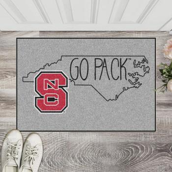 "19"" x 30"" North Carolina State University Southern Style Gray Rectangle Starter Mat"