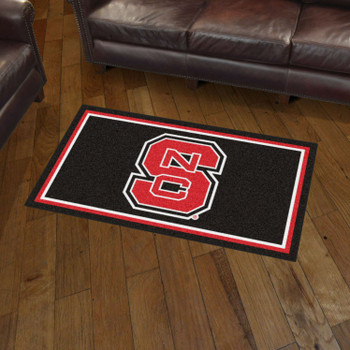 3' x 5' North Carolina State University Black Rectangle Rug