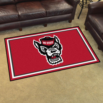 4' x 6' North Carolina State University Red Rectangle Rug
