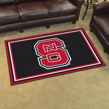 4' x 6' North Carolina State University Black Rectangle Rug