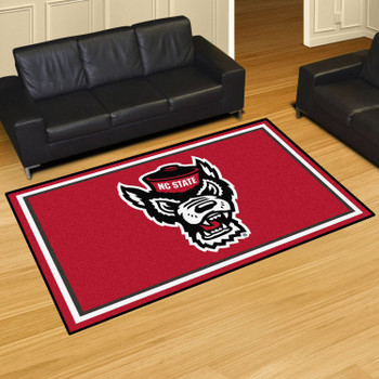 5' x 8' North Carolina State University Red Rectangle Rug