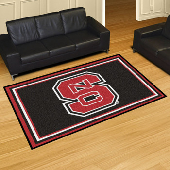 5' x 8' North Carolina State University Black Rectangle Rug