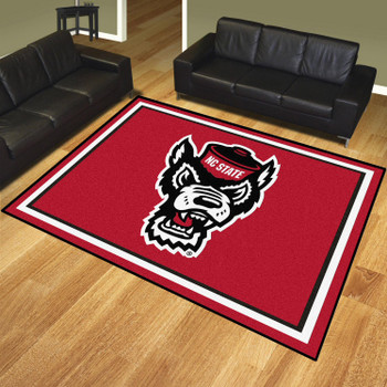 8' x 10' North Carolina State University Red Rectangle Rug