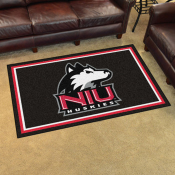 4' x 6' Northern Illinois University Black Rectangle Rug