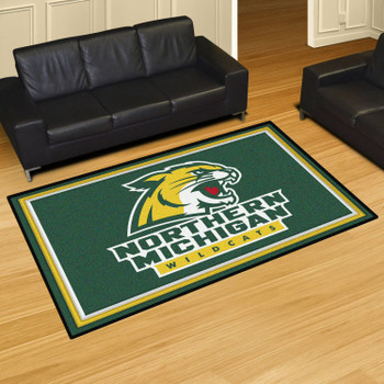 5' x 8' Northern Michigan University Green Rectangle Rug