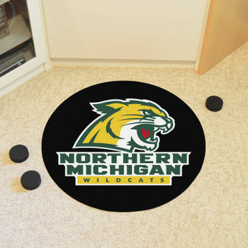 "27"" Northern Michigan University Puck Round Mat - ""Wildcat"" Logo & Wordmark"