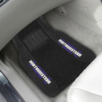 Northwestern University Deluxe Vinyl & Black Carpet Car Mat, Set of 2