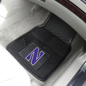 Northwestern University Heavy Duty Vinyl Front Black Car Mat, Set of 2