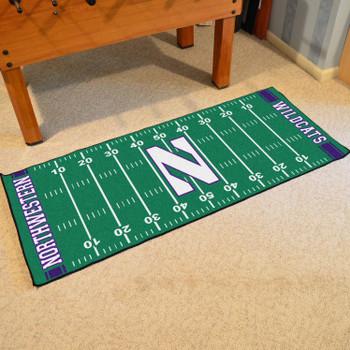 "30"" x 72"" Northwestern University Football Field Rectangle Runner Mat"