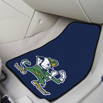 Notre Dame Fighting Irish Logo Carpet Car Mat, Set of 2