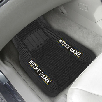Notre Dame Deluxe Vinyl & Black Carpet Car Mat, Set of 2