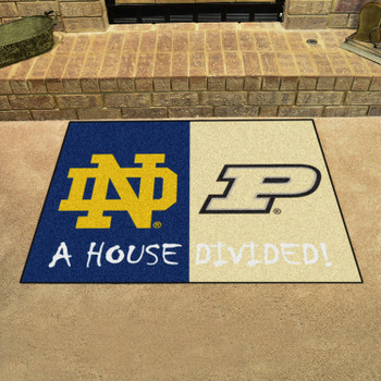 "33.75"" x 42.5"" Notre Dame / Purdue House Divided Rectangle Mat"