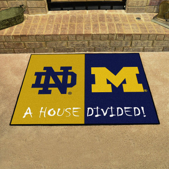 "33.75"" x 42.5"" Notre Dame / Michigan House Divided Rectangle Mat"