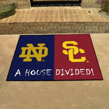 "33.75"" x 42.5"" Notre Dame / Southern Cal House Divided Rectangle Mat"