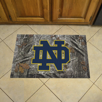 "19"" x 30"" Notre Dame Rectangle Camo Scraper Mat - ""ND"" Logo"