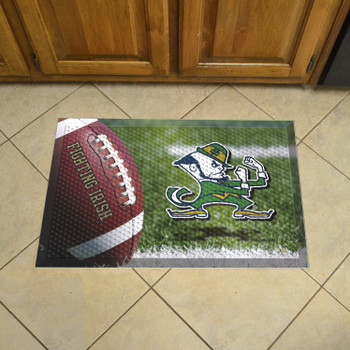 "19"" x 30"" Notre Dame Rectangle Scraper Mat - ""Fighting Irish"" Logo"
