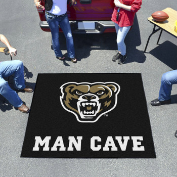 "59.5"" x 71"" Oakland University Man Cave Tailgater Black Rectangle Mat"