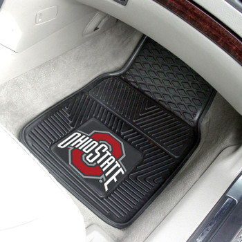 Ohio State University Heavy Duty Vinyl Front Black Car Mat, Set of 2