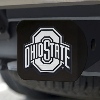 Ohio State University Hitch Cover - Chrome on Black