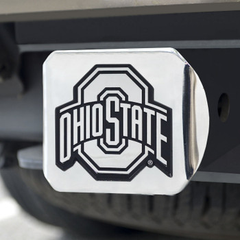 Ohio State University Hitch Cover - Chrome on Chrome