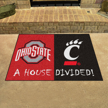 "33.75"" x 42.5"" Ohio State / Cincinnati House Divided Rectangle Mat"