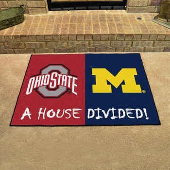 """33.75"""" x 42.5"""" Ohio State / Michigan House Divided Rectangle Mat"""
