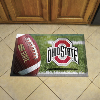 "19"" x 30"" Ohio State University Rectangle Scraper Mat - ""O & Ohio State"" Logo"
