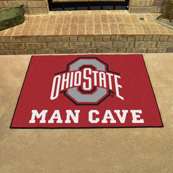 "33.75"" x 42.5"" Ohio State University Man Cave All-Star Red Rectangle Mat"
