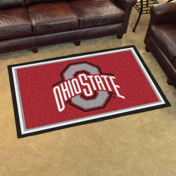 4' x 6' Ohio State University Red Rectangle Rug