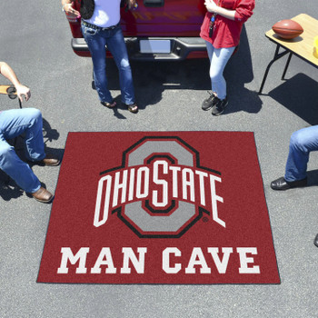 """59.5"""" x 71"""" Ohio State University Man Cave Tailgater Red Rectangle Mat"""