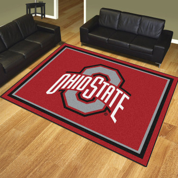8' x 10' Ohio State University Red Rectangle Rug