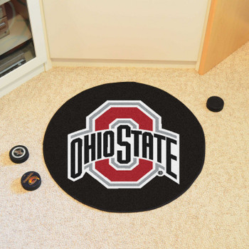"27"" Ohio State University Puck Round Mat - ""O & Ohio State"" Logo"