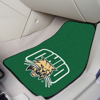 Ohio University Green Carpet Car Mat, Set of 2