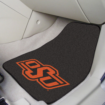 Oklahoma State University Black Carpet Car Mat, Set of 2