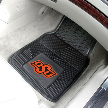 Oklahoma State University Heavy Duty Vinyl Front Black Car Mat, Set of 2